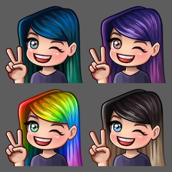 Emotion hi icons smile female with long hairs for social networks and stickers