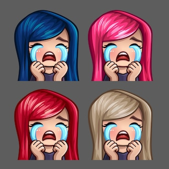 Emotion icons crying female with long hairs for social networks and stickers