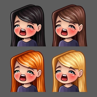 Emotion icons gasm female с длинными волосами для социальных сетей и стикеров