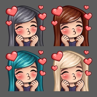 Emotion icons happy female kisses with long hairs for social networks and stickers