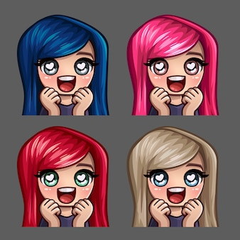 Emotion icons happy female love with long hairs for social networks and stickers