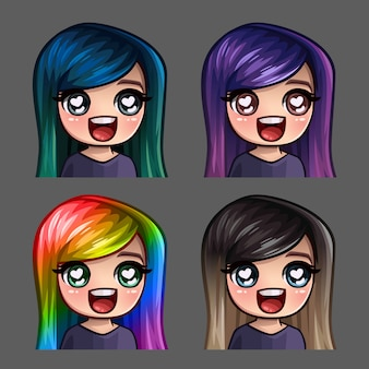 Emotion icons happy female with long hairs for social networks and stickers