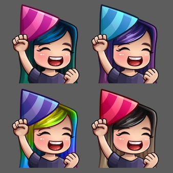 Emotion icons happy party female with long hairs for social networks and stickers