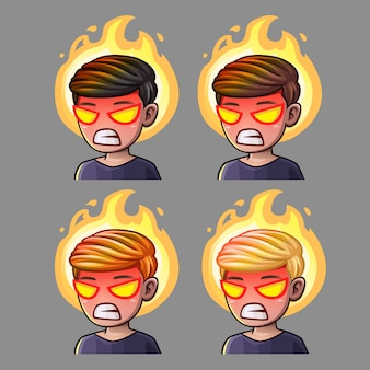 Emotion icons rage boy for social networks and stickers