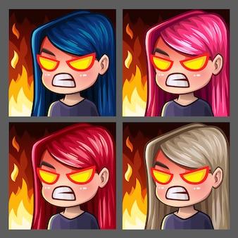 Emotion иконки ярости девушки с длинными волосами для социальных сетей и стикеров