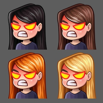 Emotion icons rage female with long hairs for social networks and stickers