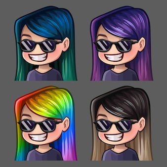 Emotion icons smile female in black glasses with long hairs for social networks and stickers