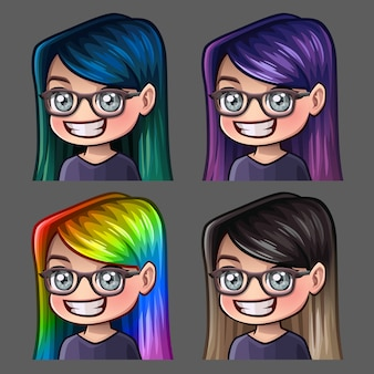 Emotion icons smile female in glasses with long hairs for social networks and stickers