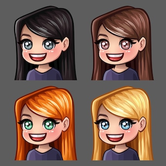 Emotion icons smile female with long hairs for social networks and stickers
