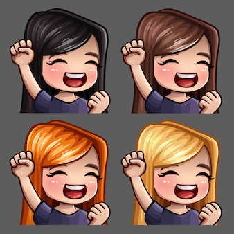 Emotion icons smile happy female with long hairs for social networks and stickers