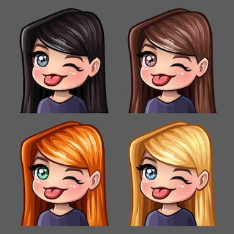 Emotion icons winks and shows tongue female with long hairs for social networks and stickers