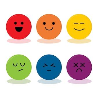 Уровни эмоций на шкале значка разных лиц. элемент дизайна для обратной связи, обзора, рейтинга, обзора продукта. набор смайликов с разными эмоциями на белом фоне. векторная иллюстрация