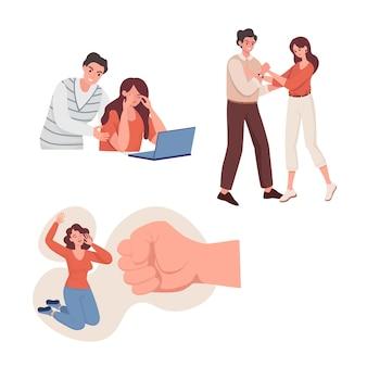 정서적 학대 및 가정 폭력 평면 그림 가족 사회