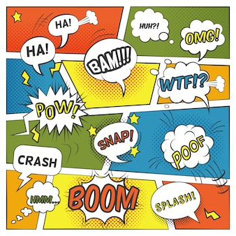 Emotional and sound comic bubbles set with boom splash and omg flat