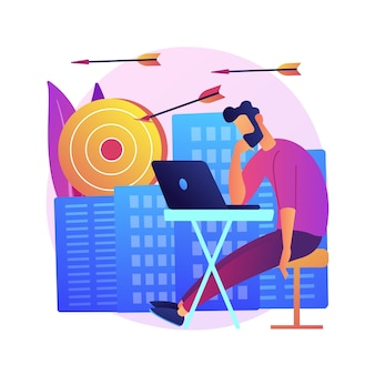 感情的な燃え尽き症候群。インスピレーションの欠如。疲労感、過労、倦怠感。コンピューターで職場に座っている疲れ果てたサラリーマン漫画のキャラクター。