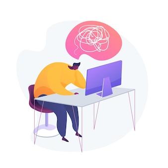 Эмоциональное выгорание. отсутствие вдохновения. усталость, переутомление, утомляемость. измученный офисный работник мультипликационный персонаж, сидя на рабочем месте с компьютером.