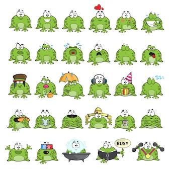 Эмоциональные милые лягушки мультипликационный персонаж - векторный набор Premium векторы