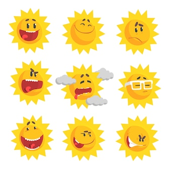 Emotional face set of colorful characters vector illustrations