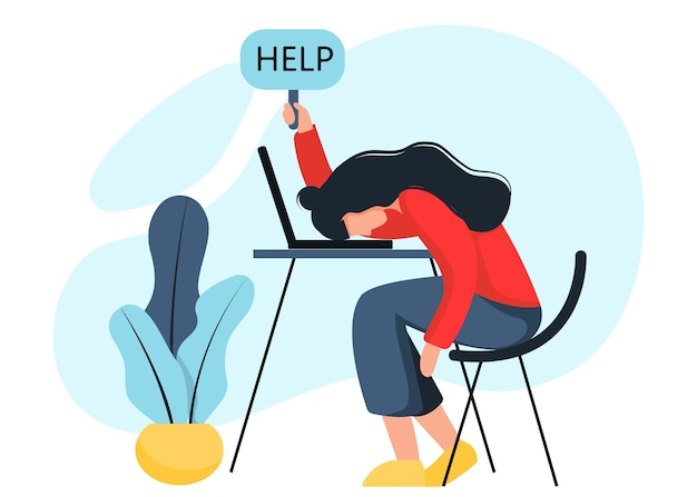 Emotional fatigue. burnout in school and at work. lack of strength. depression. stress. in flat style.