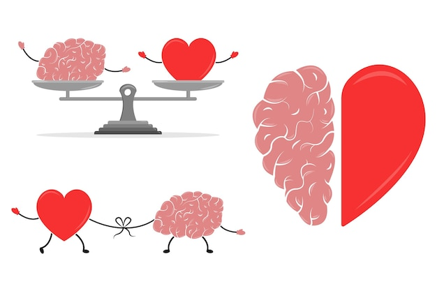 Emotional intelligence vector illustrations balance between soul and intellect