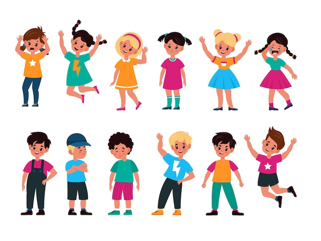 Emotional kids. cute boys and girls afraid and happy, cry and sad, surprised and resentful, jump and angry, greet and smiley, faces with expressions vector flat cartoon children characters collection