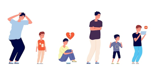 Emotional male characters. different ages men, isolated sad boy teens and adult. crying little kid, depressed man vector illustration. worried people, person young emotion desperation
