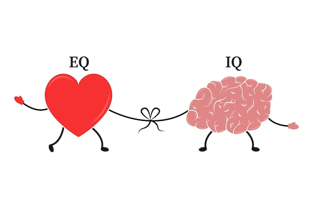 Emotional quotient and intelligence heart and brain concept