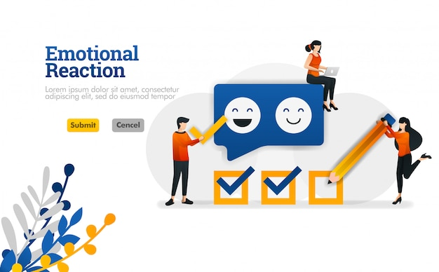 Emotional reaction for users and application developers. marketing and advertising vector illustration