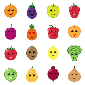 감정적인 야채와 과일 아이콘 세트 긍정적이고 부정적인 얼굴 컬렉션