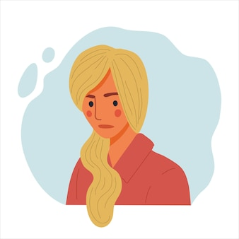 Emotional women portrait, hand drawn flat design concept illustration of sad girl, happy female face and and shoulders avatars.