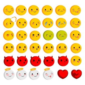 Emotional yellow round faces smiles big set