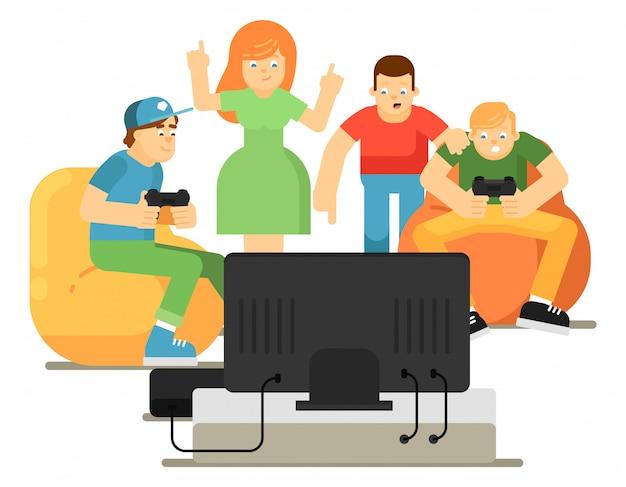 Emotional young people playing in video game