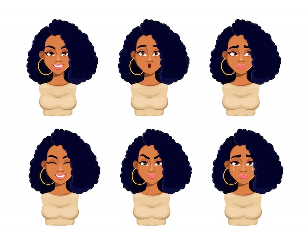 Emotions of beautiful african american woman