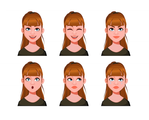 Emotions of cute lady. face expressions of woman