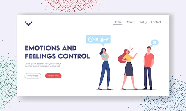 Emotions and feelings control landing page template. relaxed peaceful female character watch colleagues quarrel staying calm. mental balance, self control harmony. cartoon people vector illustration