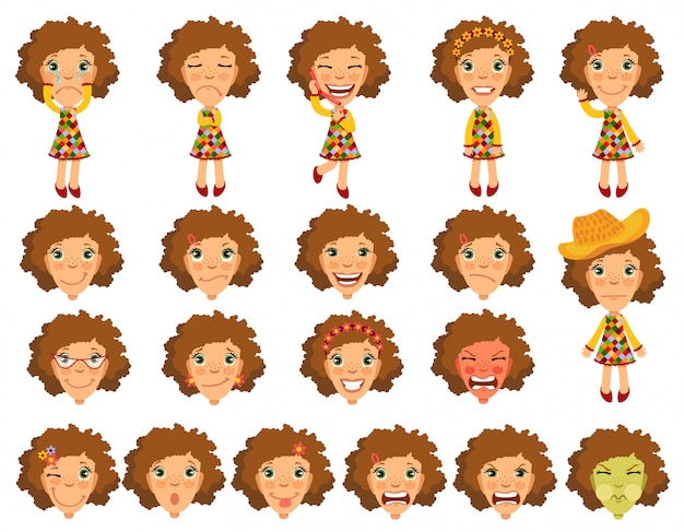 Emotions girl character for animation.