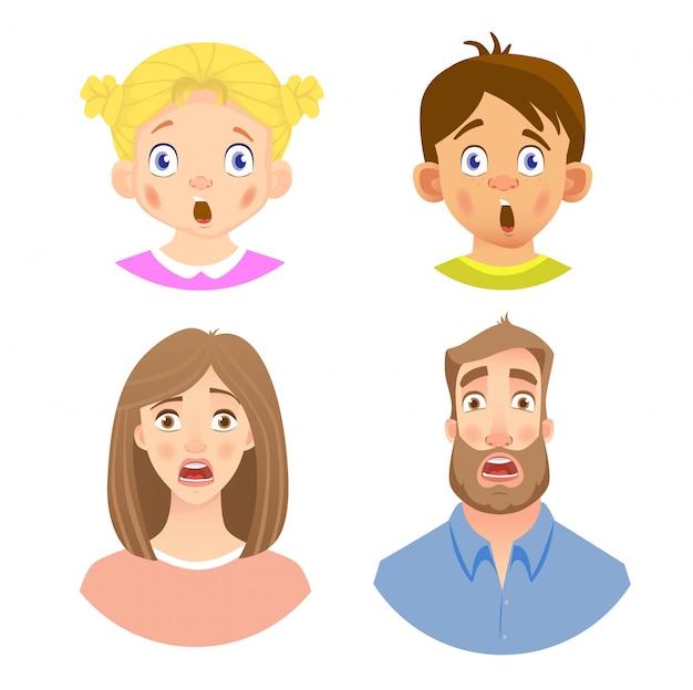 人間の顔の感情セット