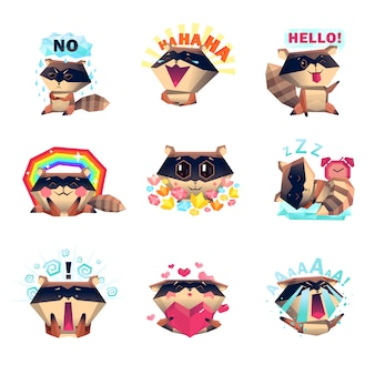 Emotions of raccoon set cartoon style