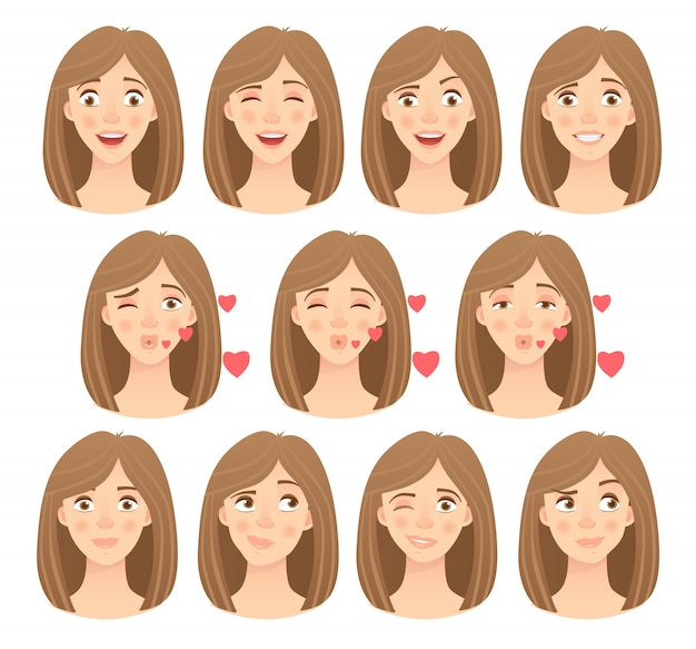 Emotions of womans face set