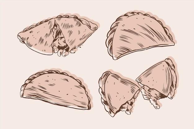 Концепция коллекции монохромный empanada