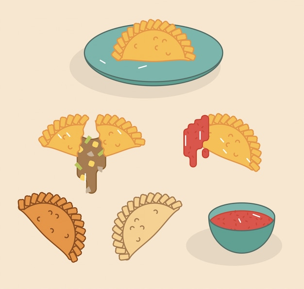 Empanadas flat vector illustration set