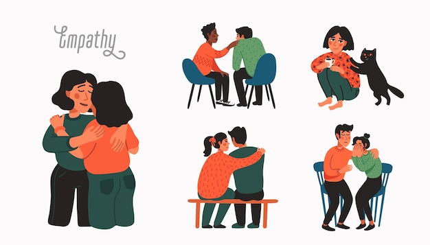 Empathy and compassion concept people comforting each other