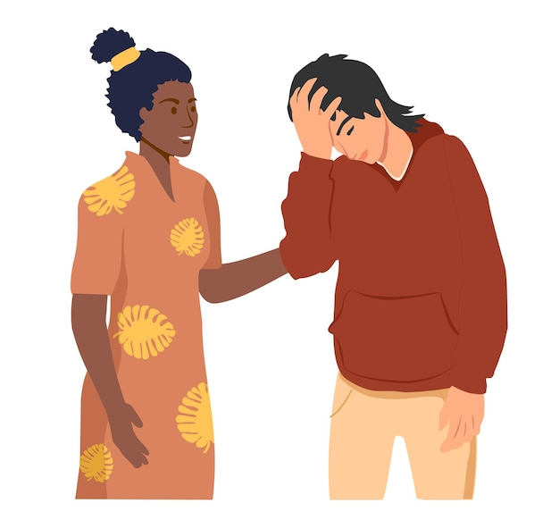 Empathy and compassion concept woman soothes upset guy helping hand or psychological care