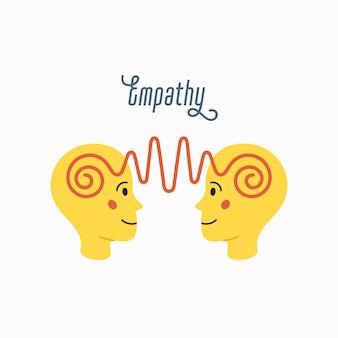 共感。共感の概念-内部の感情の抽象的なイメージを持つ2つの人間の頭のシルエット。白い背景の上のフラット漫画スタイルで