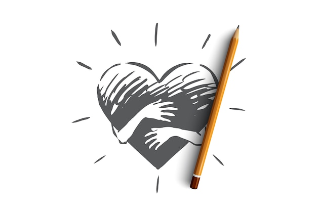 Empathy, heart, love, charity, support concept. hand drawn hands hugging heart concept sketch.