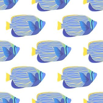 Emperor angelfish seamless pattern. pomacanthus imperator vector wallpaper