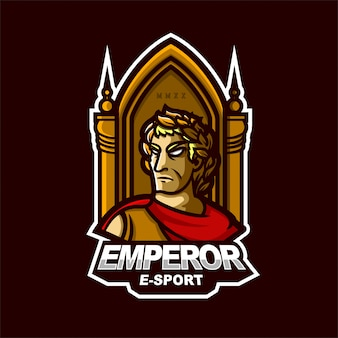 Шаблон логотипа игрового талисмана emperor e-sport