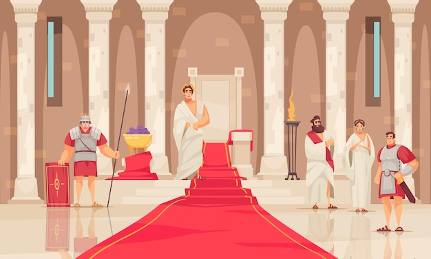 Emperor and his throne in ancient rome castle cartoon