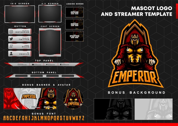 Emperor mascot logo and twitch overlay template