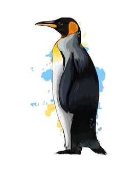 Императорский пингвин из всплеска акварели